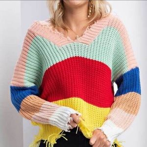 Main Strip Oversized Knitted Sweater Size M